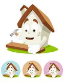 House Cartoon Mascot - nailing Royalty Free Stock Images