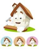 House Cartoon Mascot - nailing Royalty Free Stock Images