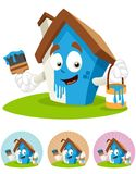 House Cartoon Mascot - painting. House cartoon character  illustration holding brush and paint bucket, DIY painting Stock Photography
