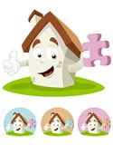 House Cartoon Mascot - puzzle Royalty Free Stock Photo