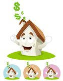 House Cartoon Mascot - sunning Royalty Free Stock Images