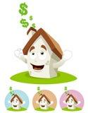 House Cartoon Mascot - sunning Royalty Free Stock Images