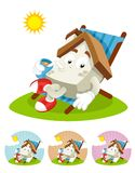 House Cartoon Mascot - sunning royalty free stock photos