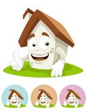 House Cartoon Mascot - thumb up. House cartoon character illustration smiling  while  his right thumb up Stock Photos