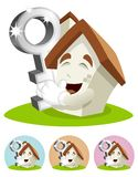 House Cartoon Mascot - victorous key Royalty Free Stock Photos