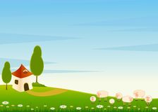 House and cartoon sheep Stock Images