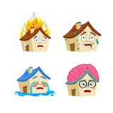 House Cartoon Style set 3. Home Smart and infected. Fire and flooded. Building Collection of situations stock illustration