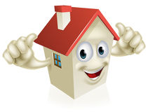 House cartoon thumbs up mascot Royalty Free Stock Images