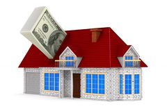 House and cash on white background. Isolated 3D illustration royalty free stock image