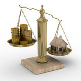 House and cashes on scale Royalty Free Stock Photos