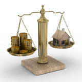 House and cashes on scale Royalty Free Stock Photography