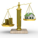 House and cashes on scales Royalty Free Stock Images