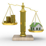 House and cashes on scales Stock Photos