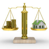 House and cashes on scales Stock Image