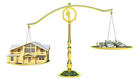 House and cashes on scales.  Stock Images