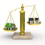 House and cashes on scales. Isolated 3D Stock Images