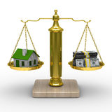 House and cashes on scales. Isolated 3D Stock Image