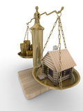 House and cashes on weights Royalty Free Stock Image