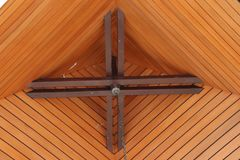 House ceiling. wood arrangement. conical. natural design, royalty free stock photo