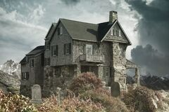 House, Cemetery, Haunted House Royalty Free Stock Images