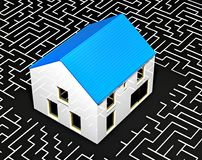 House in the center of a maze. 3d illustration royalty free illustration