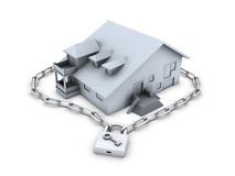 House, chain, closed padlock and key Royalty Free Stock Image