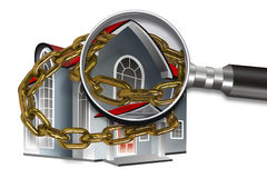 House, chain and magnifier Royalty Free Stock Image
