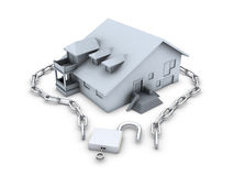 House, chain, opened padlock and key Royalty Free Stock Photos