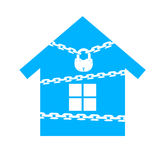 House with chains closed on the lock Royalty Free Stock Images