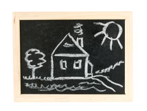 House on chalk board  Royalty Free Stock Images