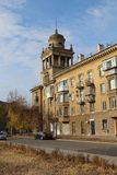 House on Chapaev street, Magnitogorsk city, Russia royalty free stock images