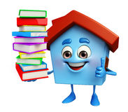 House character with books pile Stock Photo