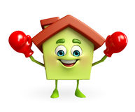 House character with boxing gloves Stock Images