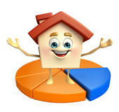 House character with business graph Royalty Free Stock Photo