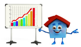 House character with business graph Royalty Free Stock Photos