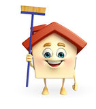 House character with cleaning mop Royalty Free Stock Photos