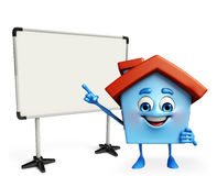 House character with display board Royalty Free Stock Images