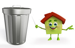 House character with dustbin Stock Photos