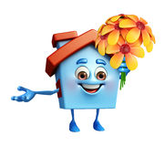 House character with flower Royalty Free Stock Photography