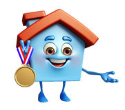 House character with gold medal Stock Image