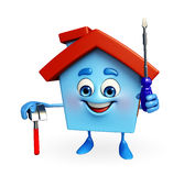 House character with hammer and screw driver Royalty Free Stock Image