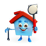 House character with  hammer and wrench Royalty Free Stock Photography