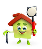 House character with  hammer and wrench Royalty Free Stock Image