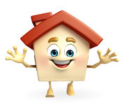 House character with happy pose Royalty Free Stock Image