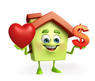 House character with heart and dollar sign Royalty Free Stock Photography