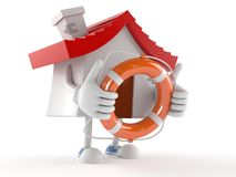 House character holding life buoy Stock Images