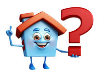 House character with question mark Royalty Free Stock Photography