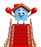 House character with red carpet Stock Images