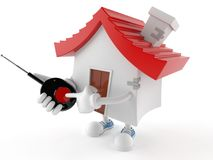 House character with remote push button Royalty Free Stock Photo