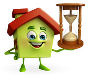 House character with sand clock Stock Image